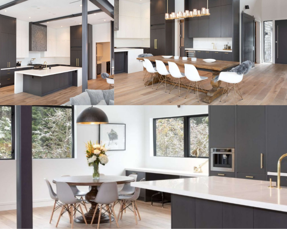 Collage of the Whistler Escape home. Top left corner, view of the kitchen island. Top right corner, view of the dining room with chandelier. Bottom left, view of the breakfast nook and extension of kitchen island.