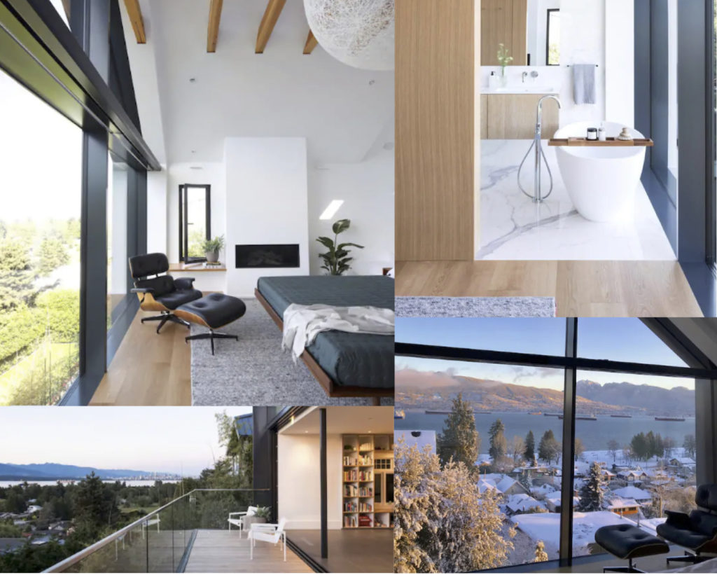 Collage of the Award Winning Beach home - top left photo is the bright bedroom; top right is the minimalist bathroom and bathtub. Bottom left is the view of the balcony, and bottom right is the view from the bedroom during the winter time, looking out onto the North Shore.