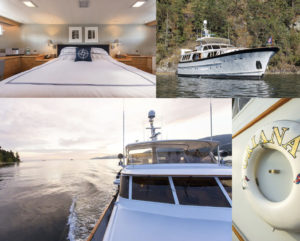 """Collage of the Oriana Yacht - top left photo is the bedroom. Top right is the yacht on the water, with the forest behind it. Bottom left photo is the view from the front of the boat. Bottom right is a photo of the lifesaver with """"Oriana"""" written on it."""