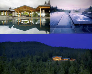 Collage of the Retreat like residence. Top left corner is the view of the house from the pool. Top right photo is the infinity pool and hot tub looking over the forest. Bottom photo is a panorama photo from a drone of the house at night, surrounded by forest.