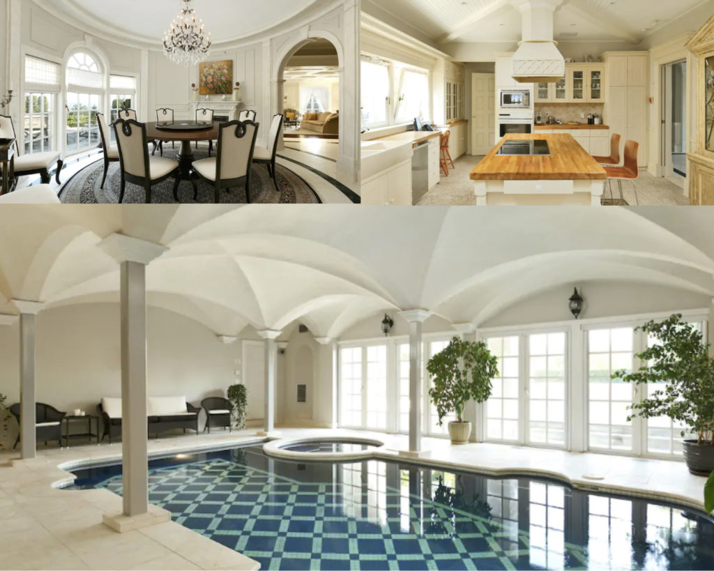 Collage of the Stone Chateau. Top left photo is the dining room, with a large chandelier and a round dining table. Top right photo is the sunny kitchen, and counter island. Bottom photo is the indoor pool and hot tub, with high ceilings and plants.