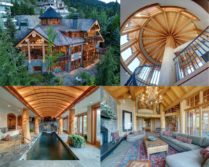 Collage of MountainSky Whistler Home - top left corner, aerial shot of the home during the summer months. Top right, view upwards of the spiral staircase with wood finishes. Bottom left, photo of the indoor pool with wood first nations accents. Bottom right, photo of the living room, with large antler chandelier and wood accents throughout.