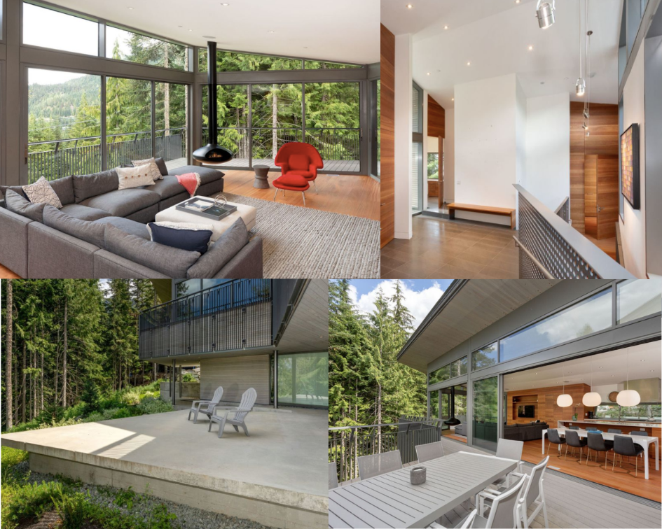 collage - kadenwood nella neve home interior. Top left living room with view of woods. Top right industrial hallway. Bottom left view of private deck. Bottom right view of dining room from balcony.