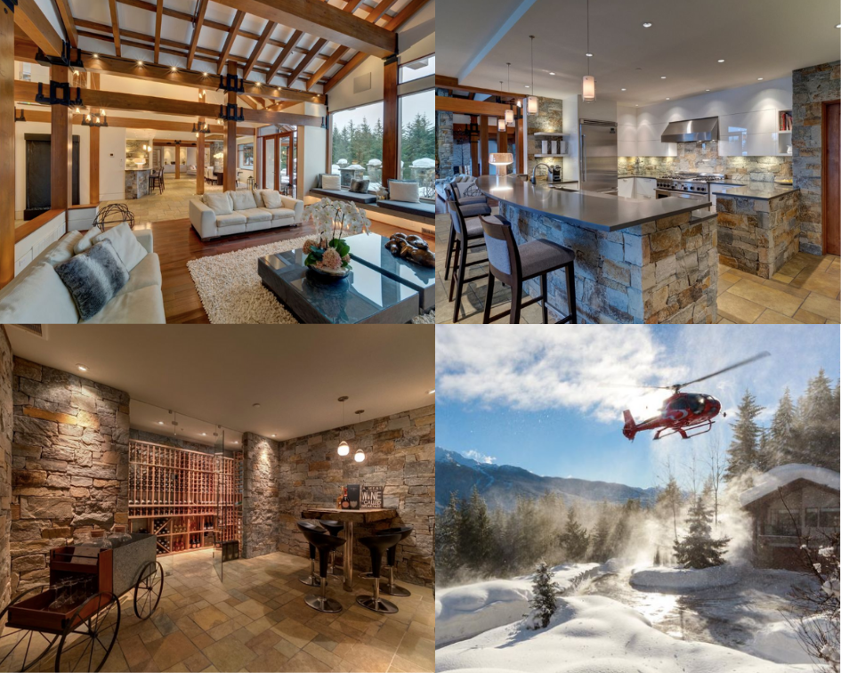 Collage of the Belmont Estate - top right corner, another view of the great room, with wooden accent beams. Top right corner, view of the kitchen. Bottom left corner, photo of the wine cellar. Bottom right, photo of the helicopter pad as a helicopter takes off in the snow.