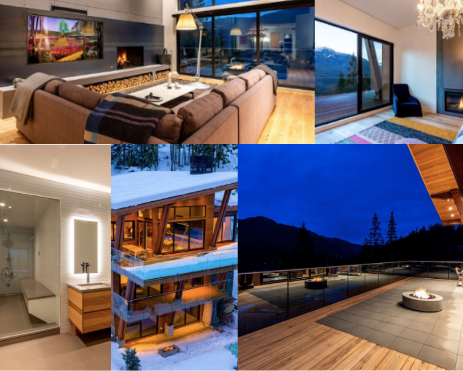 Collage of the Heritage Peak Home - top left corner, a photo of the living room, with large fireplace and floor to ceiling windows.